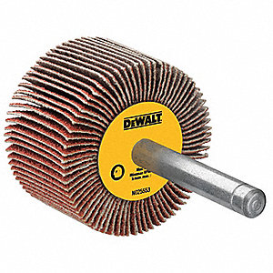 "Coated Aluminum Oxide Mounted Flap Wheel, Straight Shank Type, 2-1/2"" Dia., 1"" Face Width,"