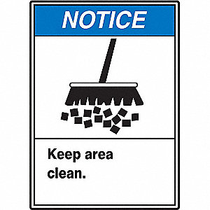 "Cleaning and Maintenance, Notice, Vinyl, 14"" x 10"", Adhesive Surface, Not Retroreflective"