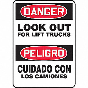 "Lift Truck Traffic, Danger/Peligro, Vinyl, 14"" x 10"", Adhesive Surface, Not Retroreflective"
