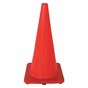 "Traffic Cone, 28"" Cone Height, Orange, PVC"