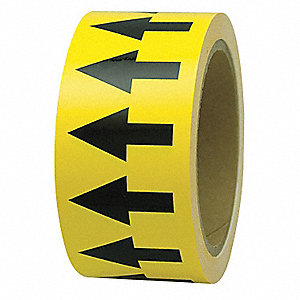 "Arrow Tape, Black/Yellow, Polyethylene, 1"" x 108 ft."