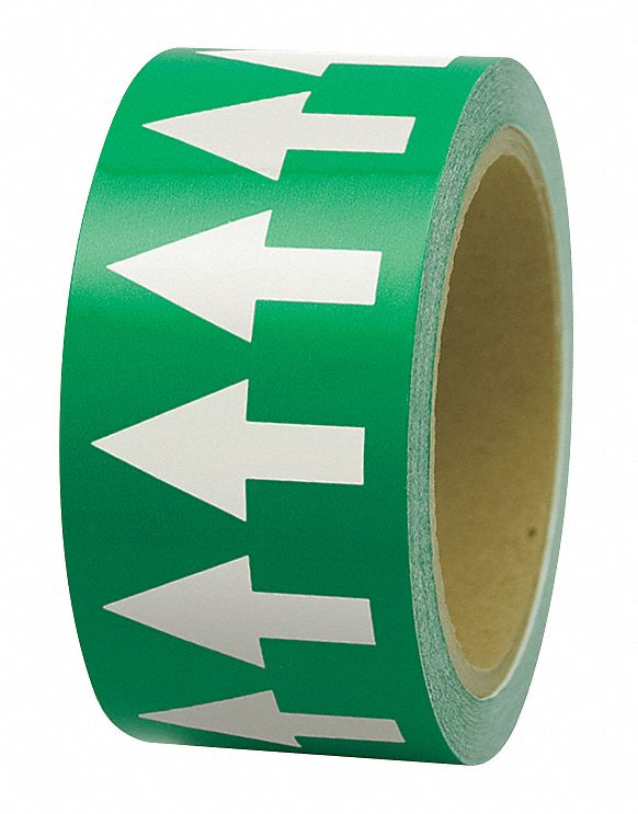 Arrow Tape,  Background Color Green,  Polyethylene,  Pipe Marker Mounting Style Adhesive Pipe Marker
