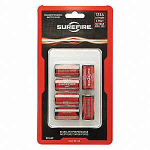 Lithium Battery, Voltage 3, Battery Size 123A, 6 PK