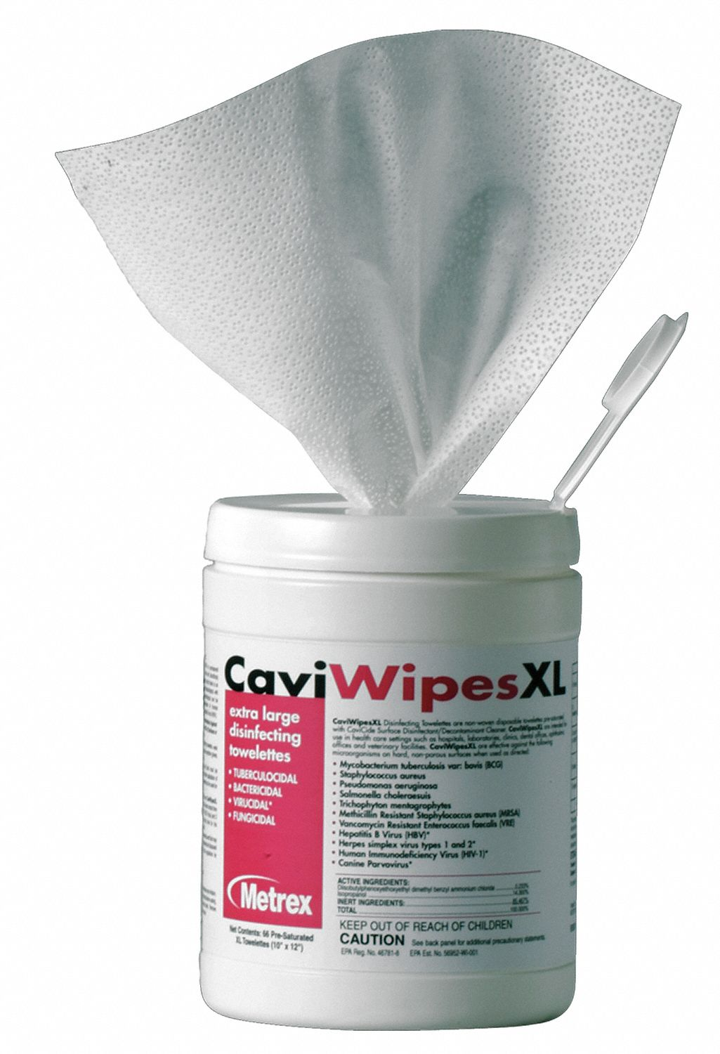 Disinfecting Cleaning Wipes,  65 ct.,  Canister,  Sheet Size 9 in x 12 in,  Ready to Use