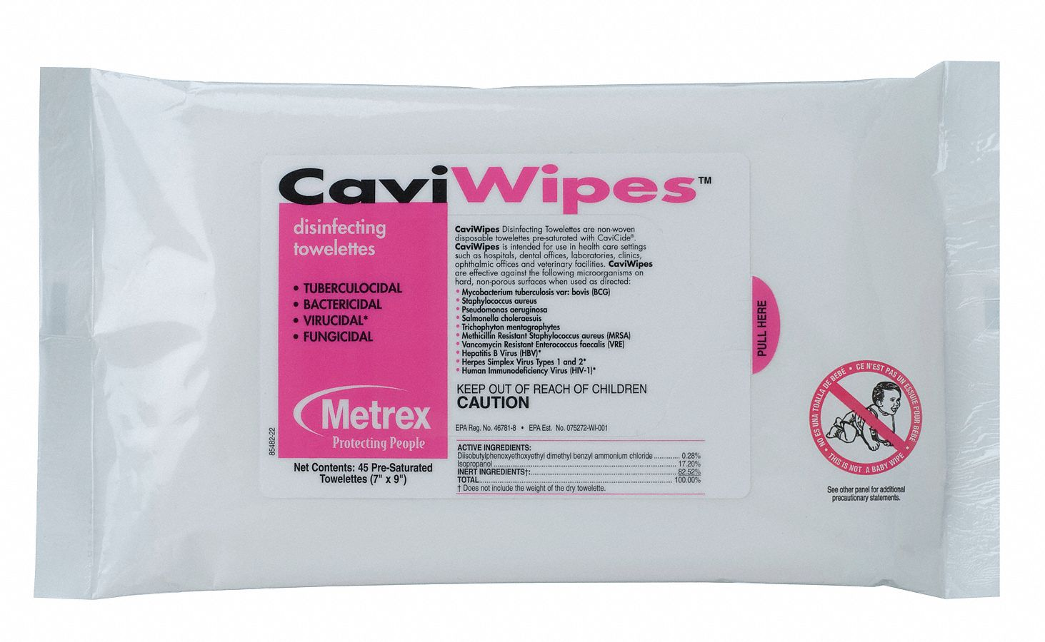Disinfecting Cleaning Wipes,  45 ct.,  Soft Pack,  Sheet Size 7 in x 9 in,  Ready to Use