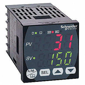 Temperature Controller, 1/16 DIN Size, 100/240VAC Input Voltage, Switch Function: SPDT