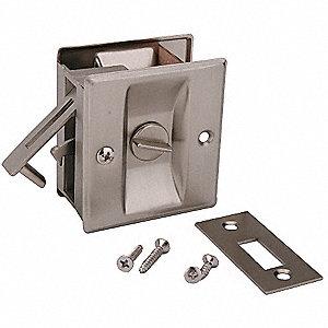 Pocket Door Privacy Lock Satin Nickel