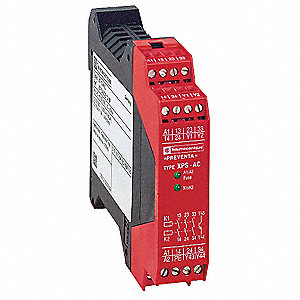 Safety Monitoring Relay, 3NO/1NC Aux., Contact Load Rating: 2.5A, Input Voltage: 24VAC/DC