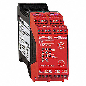 Safety Monitoring Relay, 3NO Instantaneous/3NO Timed/3SS, Contact Load Rating: 2.5A