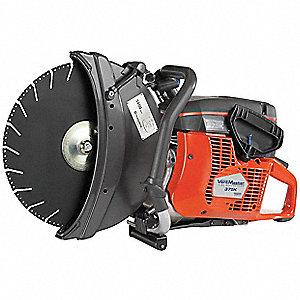 "Handheld Concrete Saw, 14"" Blade Dia., 4-3/4"" Cut Depth, 2-Stroke Engine, Wet/Dry Cut, 5.0 HP"