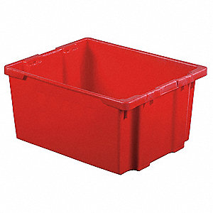 Stack and Nest Bin,30-1/8 In L,Red