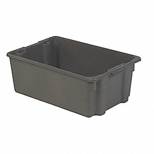 Stack and Nest Bin,28-1/2 In L,Gray