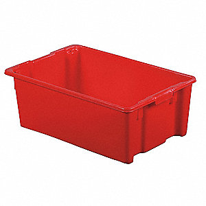 "Stack and Nest Container, Red, 10-1/2""H x 28-1/2""L x 18-3/4""W, 1EA"