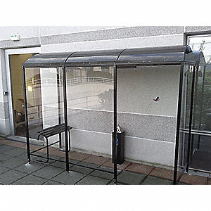 Smoking Shelter,3-Side,80 Hx43Wx124 In L