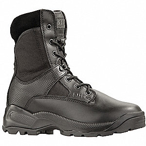 "8""H Men's Tactical Boots, Plain Toe Type, Leather and Nylon Upper Material, Black, Size 10-1/2"