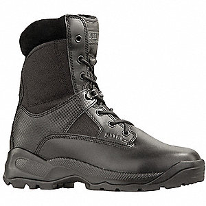 "8""H Men's Tactical Boots, Plain Toe Type, Leather and Nylon Upper Material, Black, Size 9"