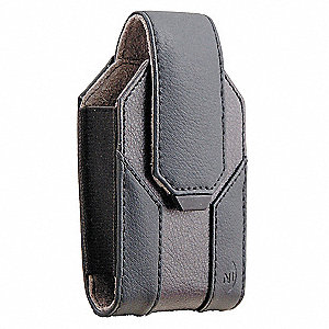 "Leather Holster Small Tall, Black Oilskin Leather, 1-3/8"" Height, 2"" Width, 3-7/8"" Depth"
