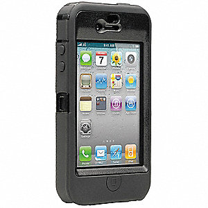 "iPhone Defender Case, Black Polycarbonate and Silicone, 5/8"" Height, 2-3/4"" Width, 4-7/8"" Depth"
