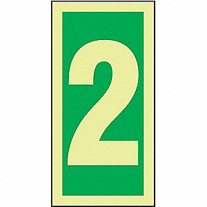 Number Sign, 2, Green/Glow White, 1 EA