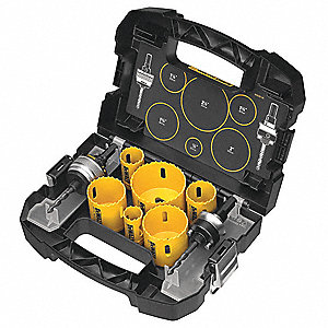 "9-Piece Electricians Hole Saw Kit for Wood, Range of Saw Sizes: 7/8"" to 2-1/2"""