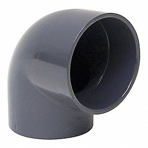 "Type I PVC 90 Degree Elbow, 4"" Duct Fitting Diameter, 4-1/2"" Duct Fitting Length"