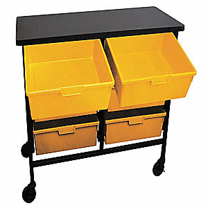 "34-3/4""H x 19-1/4""W Steel Mobile Bin Cart, 300 lb. Load Capacity, Total Number of Bins: 6"