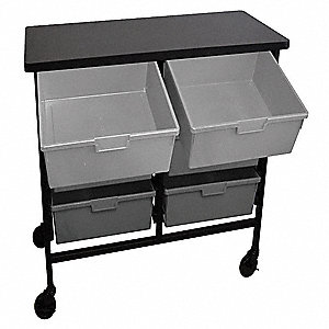 Mobile Bin Cart,31 In. L,Black/Gray