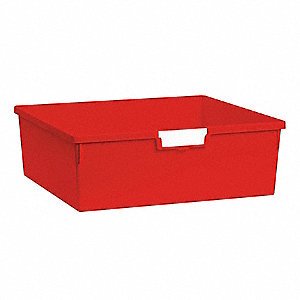 Storage Tray,Double,Length 18-1/2,Red