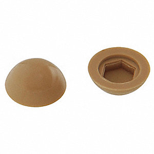 Screw Cover, Hex, Tan, PK100
