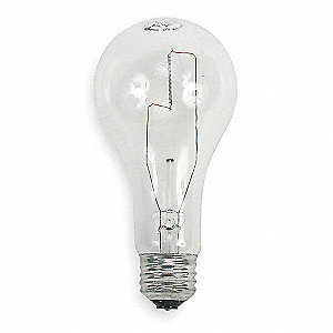 150 Watts Incandescent Lamp, A21, Medium Screw (E26), 2850 Lumens, 2800K Bulb Color Temp., 1 EA