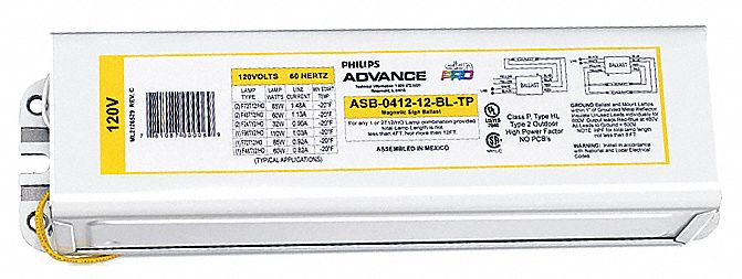 philips advance magnetic sign ballast max lamp watts 312 input rh grainger com