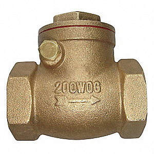 "1-1/2"" Swing Check Valve, Brass, NPT Connection Type"
