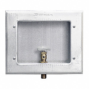 "11.63"" x 9.50"" Galvanized Metal Ice Maker Outlet Box with 1/2"" MIP Inlet Connection"