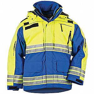 "Responder Hi-Vis Parka, 2XL Fits Chest Size 50"" to 52"", Royal Blue Color"