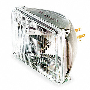 50 Watts Halogen Sealed Beam Lamp, Rectangular, 2 Contact Lugs, 3000K Bulb Color Temp.