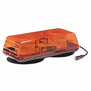 Amber Mini Light Bar, Strobe Lamp Type, Magnetic/Suction Mounting, Number of Heads: 2