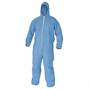FR Treated Cellulosic and Polyester Spun Lace, Flame-Resistant Coverall w/Hood, Size: 2XL
