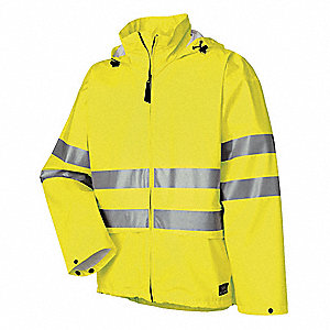 "Men's Hi-Visibility Yellow Polyurethane Rain Jacket with Hood, Size L, Fits Chest Size 42"" to 44"""