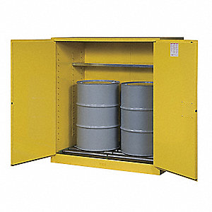 "59"" x 34"" x 65"" Galvanized Steel Vertical Drum Safety Cabinet with Self-Closing Doors, Yellow"