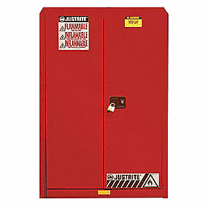"43"" x 18"" x 65"" Galvanized Steel Paint and Ink Safety Cabinet with Self-Closing Doors, Red"
