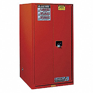 "34"" x 34"" x 65"" Galvanized Steel Paint and Ink Safety Cabinet with Self-Closing Doors, Red"
