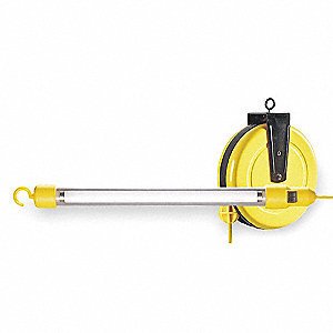 Extension Cord Reel with Hand Lamp, Fluorescent Lamp, Yellow, 25 ft. Cord Length