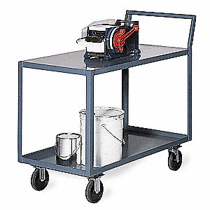 "36""L x 24""W x 40-1/4""H Gray Steel Welded Utility Cart, 800 lb. Load Capacity, Number of Shelves: 2"