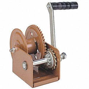 Hand Winch,Spur Gear,w/Brake,800 lb.