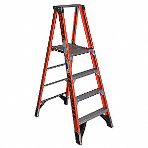 Fiberglass Platform Stepladder, 6 ft. Ladder Height, 4 ft. Platform Height, 375 lb.
