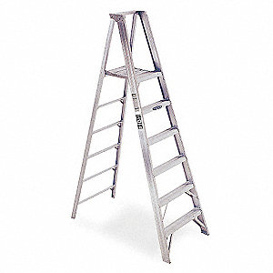 Aluminum Platform Stepladder, 6 ft. Ladder Height, 8 ft. Platform Height, 375 lb.