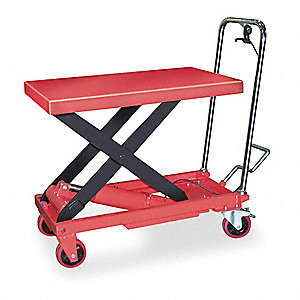 "32""L x 19-1/2""W Fixed Steel Scissor Lift Cart, 1000 lb. Load Capacity"