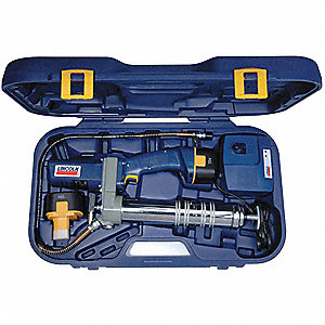 12.0 Volt Cordless Grease Gun, 6000 psi Strokes per oz., Cartridge, Bulk, Suction Loading, Flex Hose