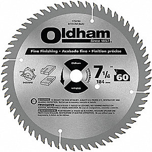 "7-1/4"" Carbide Finishing Circular Saw Blade, Number of Teeth: 60"