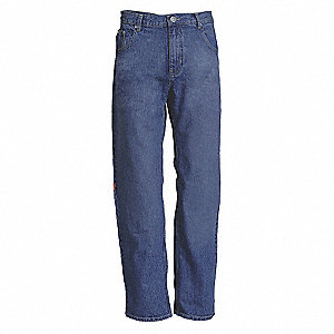 "Men's Denim Work Pants with Kneepads, 100% Cotton Denim, Color: Blue, Fits Waist Size: 34"" x 28"""